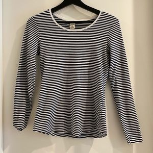 Navy blue and white stripped long sleeve top